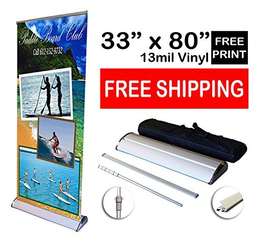 "Fantastic Displays 33"" Deluxe Retractable Banner Stand with Print"