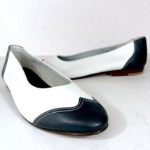 Vintage Timberland Women's Leather Ballet Flats Sz 8 White & Navy NEEDS REPAIR - $46.53