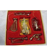 "Pretty Box of 6 Golden Musical Christmas Ornaments aprox. 2.5"" - 3.5"" Ku... - $19.79"