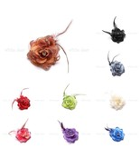 Lady Feather Rose Flower Brooch Pin Clip Glitter Hair Headdress Rhinestone - $5.95