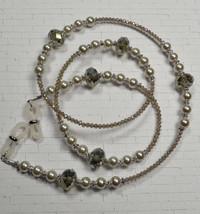 Glasses Sunglasses Chain Holder Beaded Pearl Crystal Handmade Almond Top... - $24.24