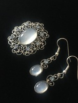 Vintage 50s Van Dell Opalite/Rhinestone Oval Brooch/pendant and Earrings Set