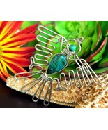 Vintage Thunderbird Phoenix Condor Bird Green Stone Brooch Pin Tribal - $19.95