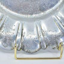 Vintage Hand Engraved Hammered Floral Pattern Silver-Tone Metal Serving Platter image 6