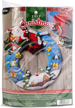 "Bucilla Felt Wreath Applique Kit 13.5""X17""-Airplane Santa - $41.85"