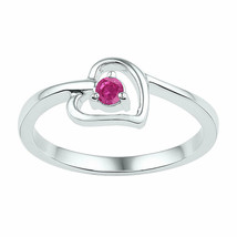 Sterling Silver Round Lab-Created Pink Sapphire Solitaire Heart Ring 1/4... - £14.21 GBP