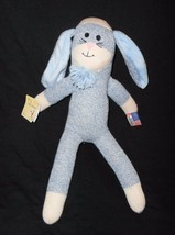 Ozark Mountain Kids Sock Monkey Bunny Rabbit Blue Plush Stuffed Animal Tags - $19.78