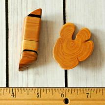 vintage natural wood pin brooch set lot brown tan - $9.89