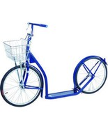 """16"""" AMISH KICK SCOOTER ~ BLUE Foot Bike w/ Basket & Brakes MADE in the USA - $299.87"""