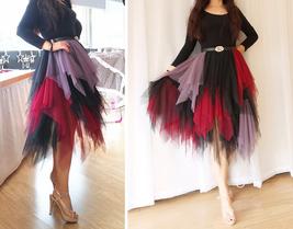 Women's Sweet High Waist Hi-lo Tiered Tulle Layered Ruffle Mesh Long Tier Skirt image 10