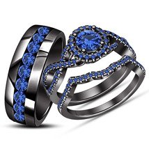 14k Black Gold Over 925 Solid Silver Blue Sapphire His Her Wedding Trio Ring Set - $168.99