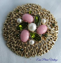Pink Lucite White Faux Pearls Rhinestones Webbed Sarah Coventry Gold Tone Brooch - $20.00