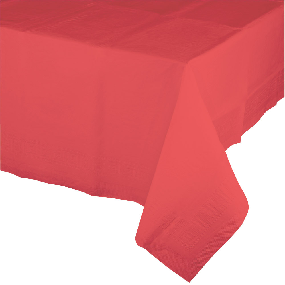 Touch of Color 54 x 108 Tissue Tablecover Poly Backing Coral/Case of 6