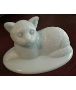 Fenton? Cat Kitten Aqua Satin Art Glass Lying down Unsigned #4 - $29.69
