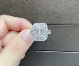 CLEARANCE!NWT $6,199 EXQUISITE 18KT BAGUETTE DOUBLE HALO DIAMOND ENGAGEM... - $6,137.01