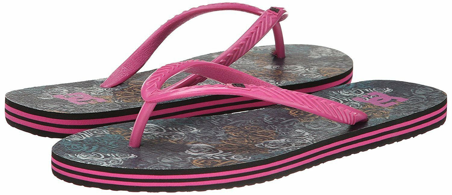 DC Women's Spray Graffik Military Rose Hot Pink Summer Flip Flop Sandal NWT