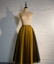 Black Yellow Tulle Maxi Skirt Outfit Plus Size Romantic Long Tutu Party Skirt  image 1