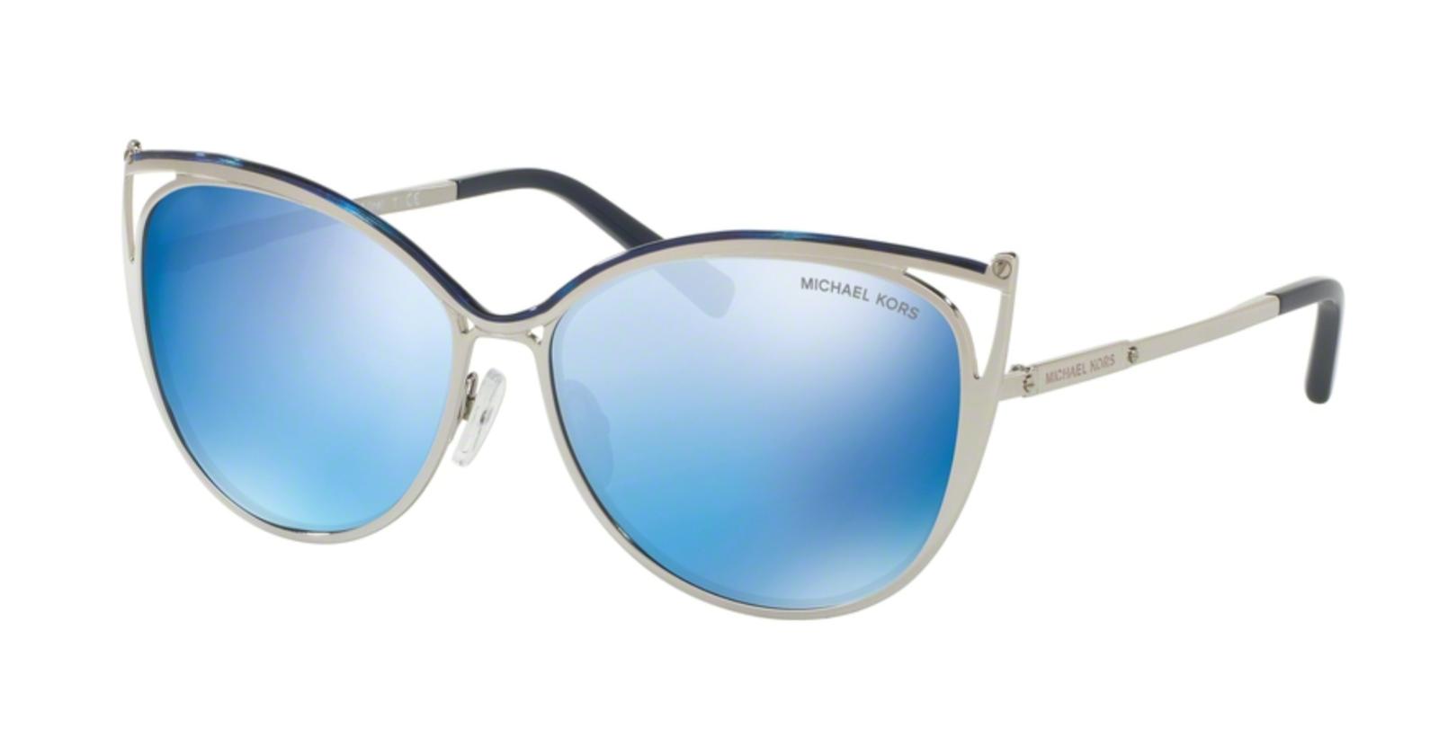 New MICHAEL KORS Sunglasses INA MK 1020 116755 Navy Silver Tone w/ Navy Mirror