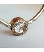 PANDORA Rose Gold Clear CZ Radiant Hearts Charm 781725CZ AUTHENTIC NWT W... - $37.87