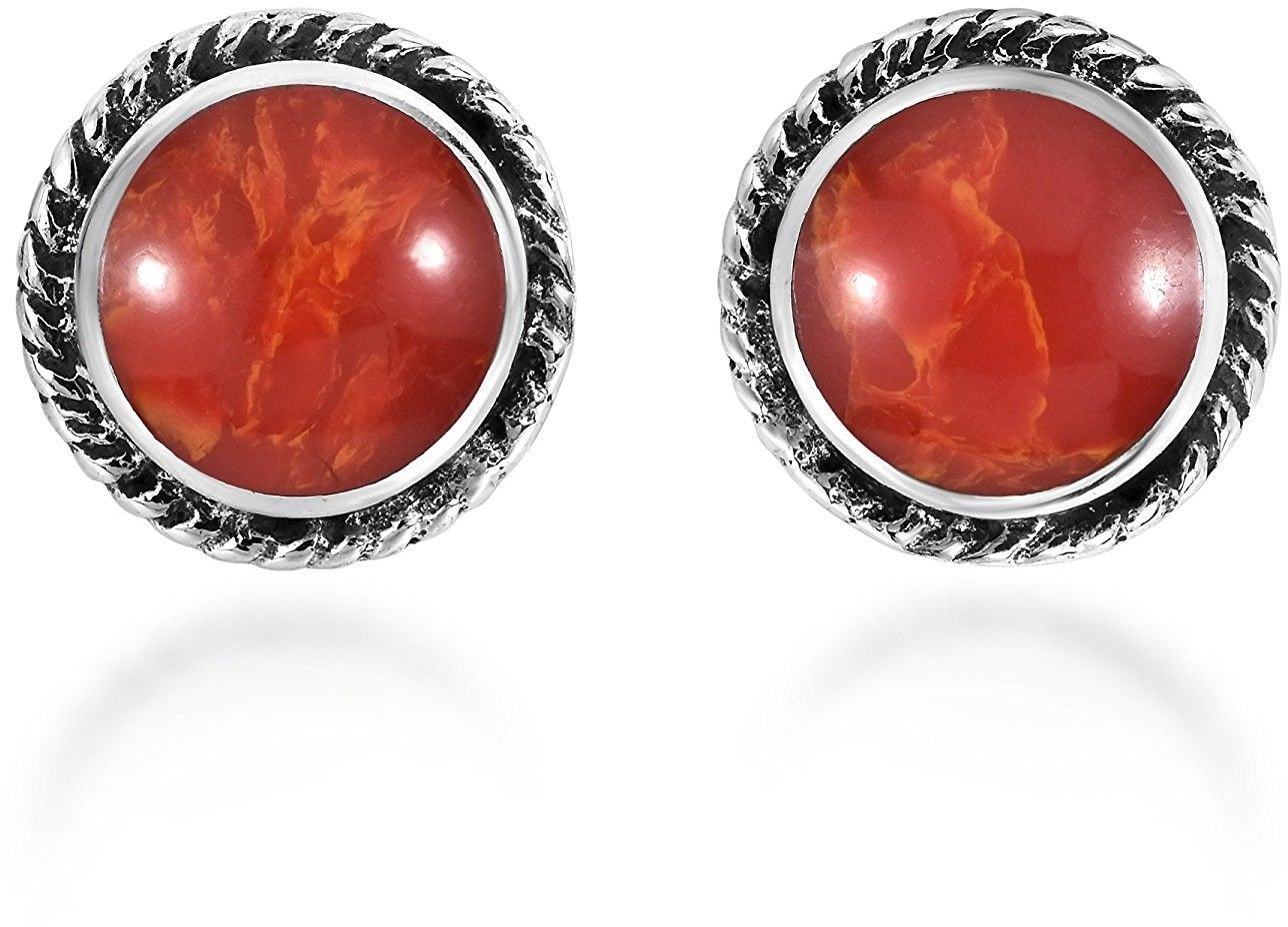 Primary image for Boho Round Botton Reconstructed Red Coral Glow .925 Sterling Silver Stud