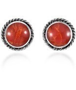 Boho Round Botton Reconstructed Red Coral Glow .925 Sterling Silver Stud - $76.77 CAD