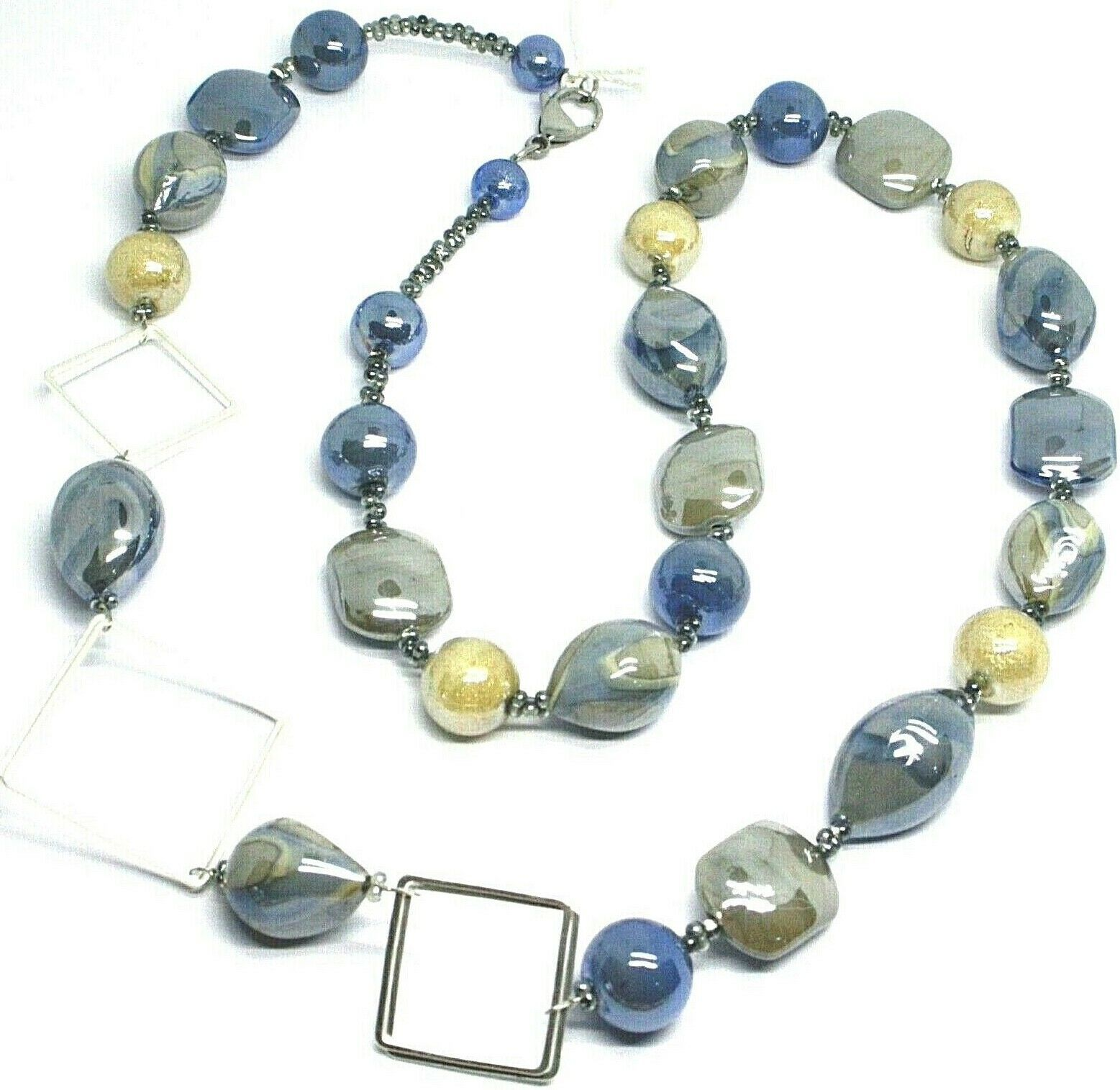 NECKLACE BLUE GRAY ROUNDED DROP, SPHERE, EXAGON MURANO GLASS SQUARE, 80cm LONG