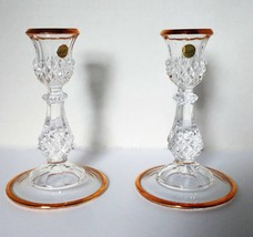 Pair of Two Lead Crystal Candlestick Candle Holders Garanti Cristal d'Arques  - $19.75