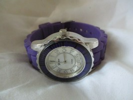 Geneva Purple & Silver Toned STYLISH Wristwatch w/ Adjustable Band - $29.00