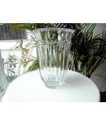 "Block Crystal Tulip Garden Pattern 9"" Centerpiece Vase Signed - $43.55"