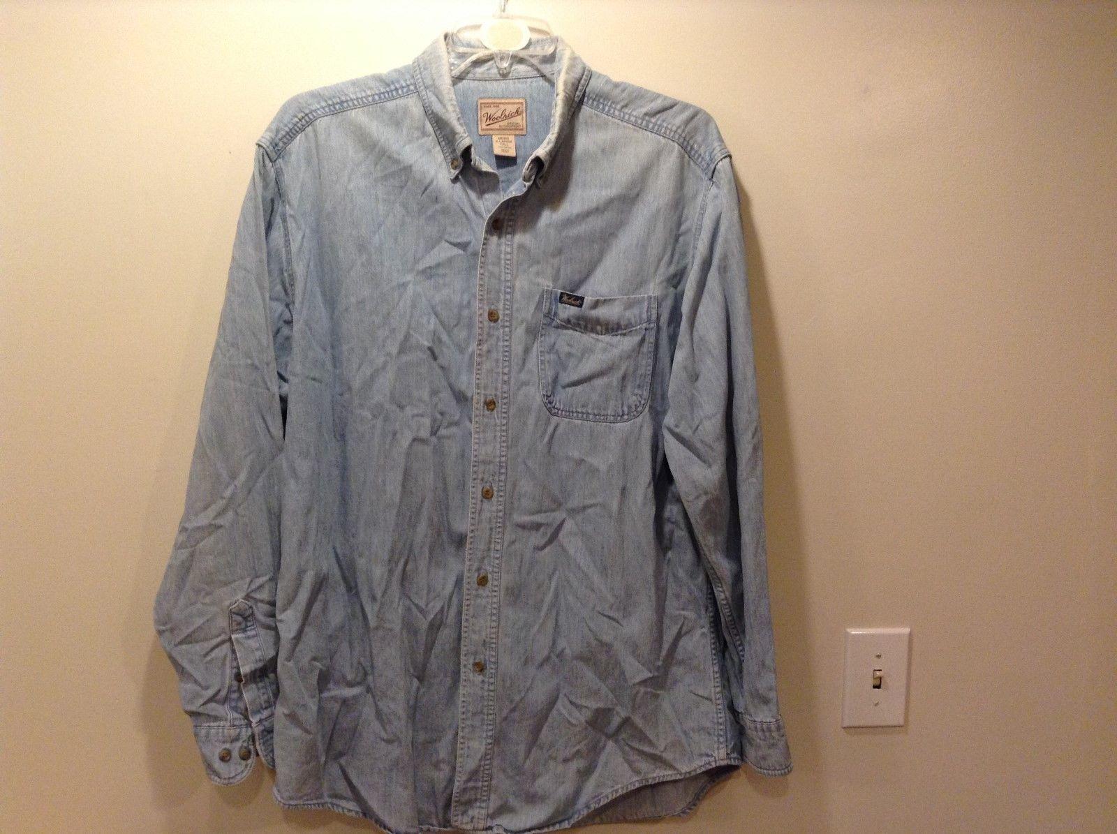 Woolrich Men's Lt Blue Button Up Collared Outdoor Wear Shirt Sz XL/Tall