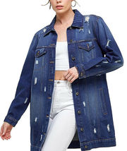 Women's Oversized Casual Cotton Button Up Distressed Long Denim Jean Jacket image 3