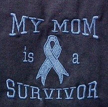 Light Blue Ribbon T-Shirt My Mom is a Survivor Navy S/S 50/50 Unisex 2XL... - $22.51