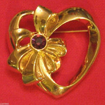Avon Birthstone Heart Pin CHOICE Gold Plated Heart w/ Bow Lapel Brooch VTG 1990s - $19.76