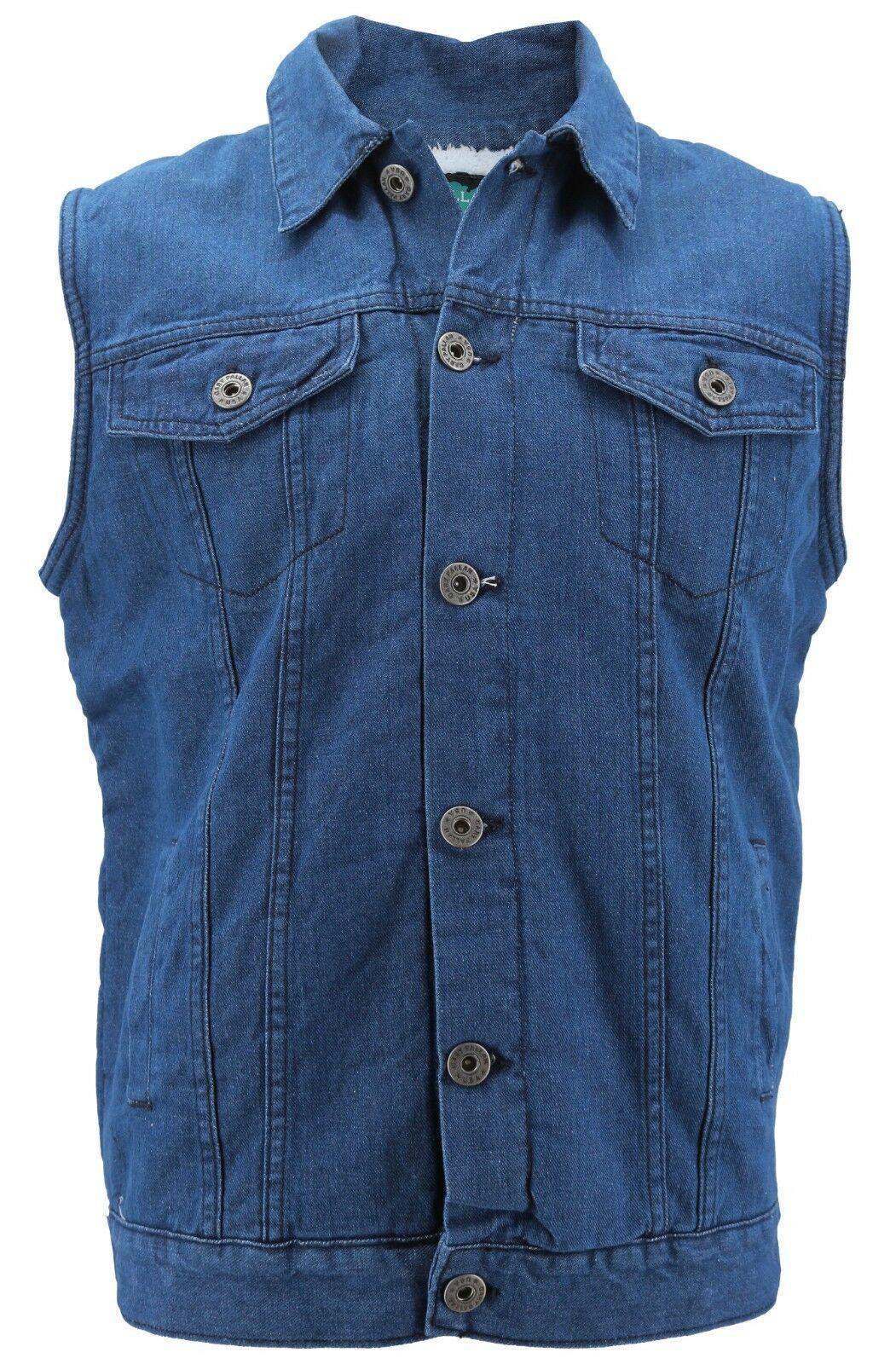 Gary Pallan USA Men's Sherpa Fleece Lined Cotton Denim Jean Trucker Vest