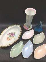 Vintage Rosenthal Porcelain Vases Butter Pat Dishes Gold Trim Oblong Bowl - $89.00