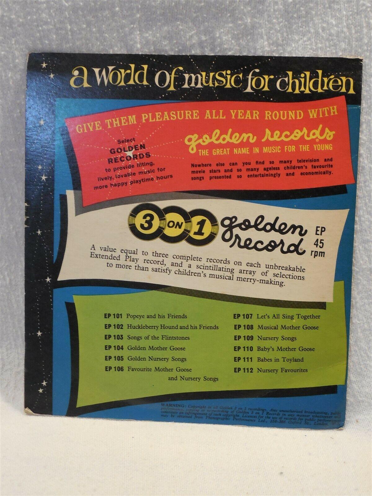 Flintstones 1961 Golden 3 on 1 Record 45 RPM - Songs of the Flintstones