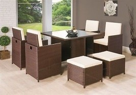 Rattan Cube Dining Set Garden Furniture Patio Table Armchairs  Mix Brown 9pcs  image 2