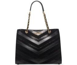 MICHAEL Michael Kors Susannah Black Mixed Leather Large Shoulder Tote Ba... - $298.00