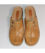 American Eagle AE Made in Brazil Brown Leather Clogs Faux Side Buckle Sz 10 - $8.18