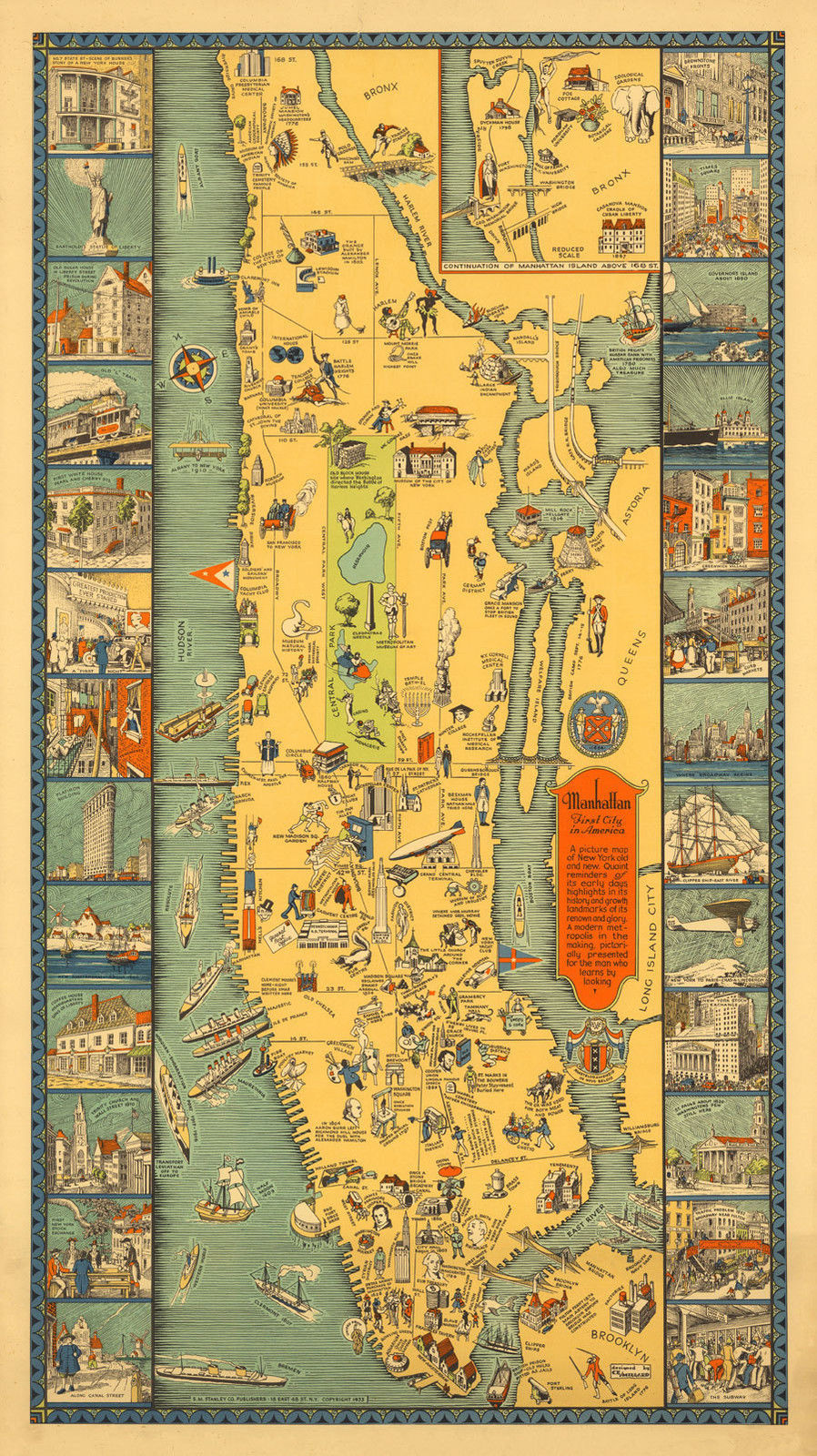 Map of Manhattan 26 Vignettes Wall Art and similar items