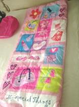 """BARBIE DOLL MATTEL PINK SLEEPING BAG /BLANKET FOR GIRLS w/Nylon Case 65""""... - $21.00"""