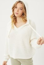 Pullover Hoodie Sweater Top Women Ivory - $40.00