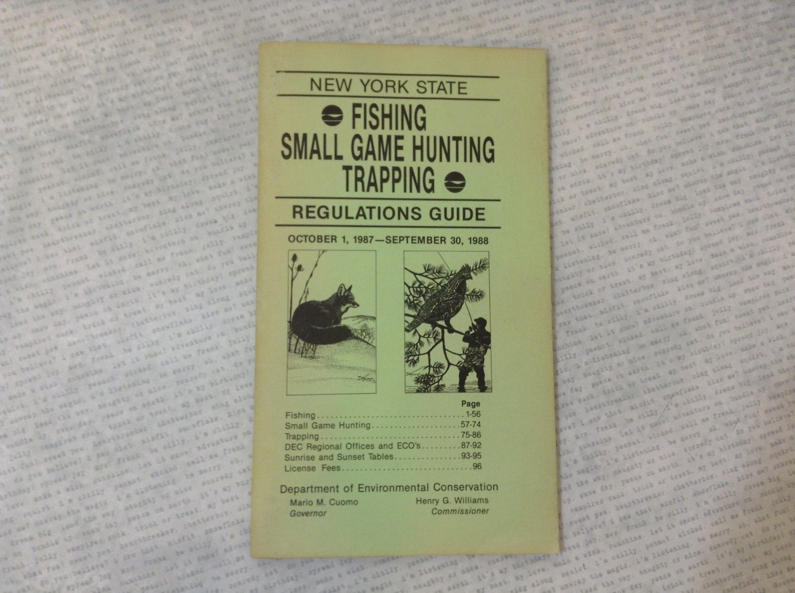 New York State Fishing Small Game Hunting Trapping Regulations Guide 1987-88