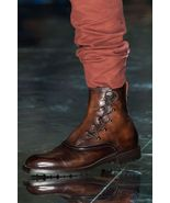New Handmade Pure Leather High Ankle Brown Leather Boot For Men's - $159.99+
