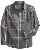 Sean John Regular Fit Windowpane Long Sleeve Shirt, Dark Shadow, Size XL - $24.74