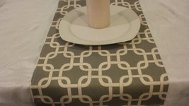 MODERN TABLE RUNNER Grey and Natural  or grey and white, Cage, Chain Pri... - $19.00