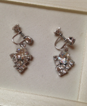 Vintage Clear Crystal Rhinestone Deco Fashion Screw Back Earrings - $30.00