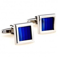 Frederick Thomas shades of turquoise blue striped cufflinks FT2839 - $18.35