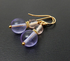 Pastel Glass Earrings, Pink Bubble Earrings, Gold Dangles - $25.00