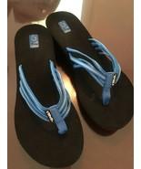 TEVA Women's Mush Heels Blue Strappy Black Toe Flip-Flops Sandals 9 - $19.75